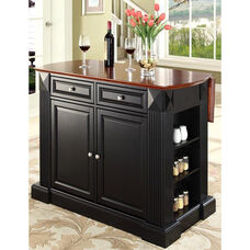 Drop Leaf Breakfast Bar Top Kitchen Island - Cherry and Black Finish