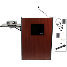 Multimedia Wireless 150 Watt Sound and Microphone Presentation Podium - Mahogany Finish - 33