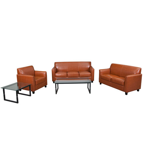 "Our HERCULES Diplomat Series Reception Set in Cognac LeatherSoft with <span style=""color:#0000CD;"">Free </span> Tables is on sale now."
