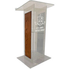 Clear ''H'' Style Acrylic Sides and Clear Floor Panel Lectern - Walnut Finish - 27''W x 16''D x 48''H