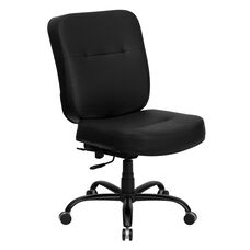 HERCULES Series Big & Tall 400 lb. Rated Black Leather Executive Swivel Chair with Rectangular Back