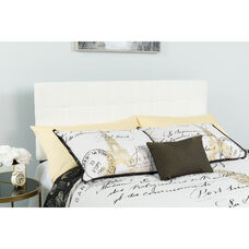 Bedford Tufted Upholstered Twin Size Headboard in White Fabric