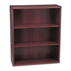 The HON Company 10700 Series Contemporary 3 Shelf Bookcase in Mahogany Finish