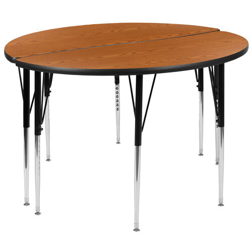 """Our 2 Piece 47.5"""" Circle Wave Collaborative Oak Thermal Laminate Activity Table Set - Standard Height Adjustable Legs is on sale now."""