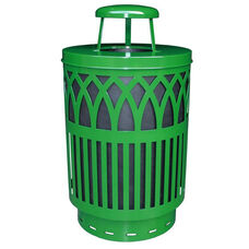 40 Gallon Covington Galvannealed Steel Rain Cap Can with Plastic Liner - Green