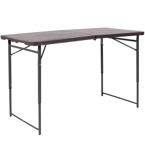Our 4-Foot Height Adjustable Bi-Fold Brown Wood Grain Plastic Folding Table with Carrying Handle is on sale now.