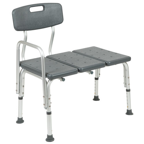 Our HERCULES Series 300 Lb. Capacity Adjustable Gray Bath & Shower Transfer Bench with Back and Side Arm is on sale now.