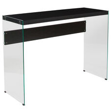 Highwood Collection Dark Ash Wood Grain Finish Console Table with Glass Frame