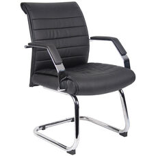 Ribbed CaressoftPlus Guest Chair with Armrests - Black