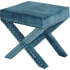 OSP Accents Katie Bench with Silver Nail Heads - Azure Micro Velvet