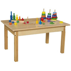 Solid Hardwood Table with Rounded Child Safe Corners and Non-Toxic Natural Finish-Rectangle - 36