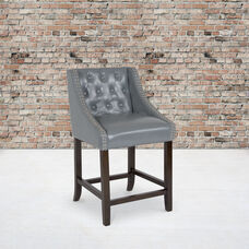 "Carmel Series 24"" High Transitional Tufted Walnut Counter Height Stool with Accent Nail Trim in Light Gray LeatherSoft"