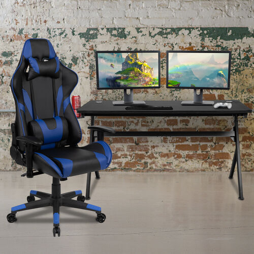 BlackArc Black Gaming Desk and Blue/Black Reclining Gaming Chair Set with Cup Holder, Headphone Hook & Removable Mouse Pad Top - Wire Management