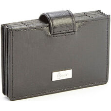 RFID Blocking Credit Card Organizer Wallet - Saffiano Genuine Leather - Black