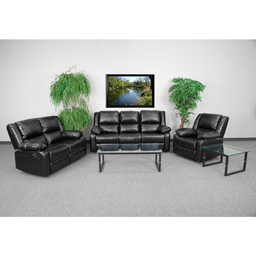 Our Harmony Series Black LeatherSoft Reclining Sofa Set is on sale now.