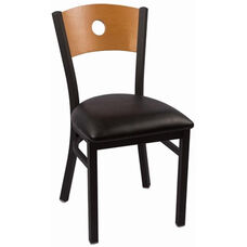 Circle Series Wood Back Armless Chair with Steel Frame and Vinyl Seat - Natural