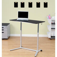 Sierra Sit-to-Stand Desk with Height Adjustment Lever - Silver and Black