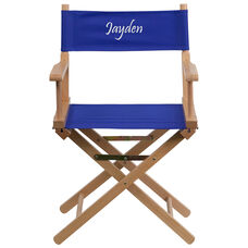 Embroidered Standard Height Directors Chair in Blue