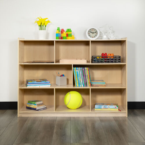 """Wooden 8 Section School Classroom Storage Cabinet for Commercial or Home Use - Safe, Kid Friendly Design - 36""""H (Natural)"""