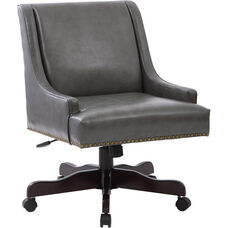 Inspired by Bassett Everton Bonded Leather Office Chair with Antique Bronze Nail Heads - Pewter