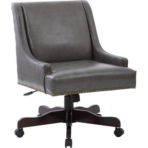 Our Inspired by Bassett Everton Bonded Leather Office Chair with Antique Bronze Nail Heads - Pewter is on sale now.