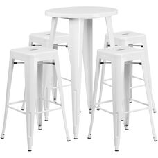 """Commercial Grade 24"""" Round White Metal Indoor-Outdoor Bar Table Set with 4 Square Seat Backless Stools"""