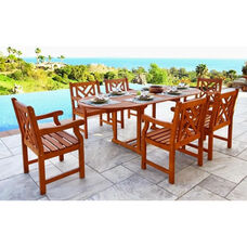 Malibu Outdoor 7 Piece Wood Patio Dining  Set with Oval Extension Table and 6 Herringbone Back Armchairs