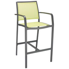 South Beach Collection Aluminum Outdoor Barstool with Arms and Textile Back - Key Lime
