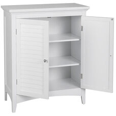 Slone Floor Cabinet with Two Shutter Doors - White