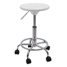 Height Adjustable Studio Stool with Chrome Footring and 5 Casters - White