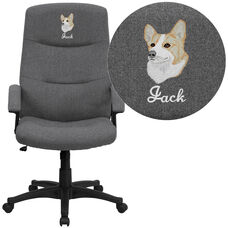 Embroidered High Back Gray Fabric Executive Swivel Office Chair with Two Line Horizontal Stitch Back and Arms
