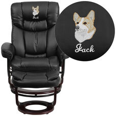 Embroidered Contemporary Multi-Position Recliner and Curved Ottoman with Swivel Mahogany Wood Base in Black Leather