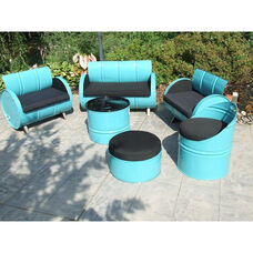 Stormy Mountain Steel Drum 6 Piece Conversation Set with Black Accents