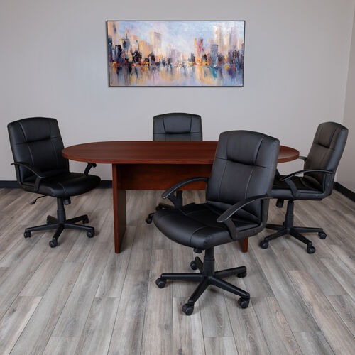 6 Foot (72 inch) Oval Conference Table in Mahogany