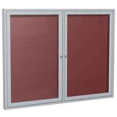 2-Door Satin Aluminum Framed Enclosure Letterboard - Burgundy