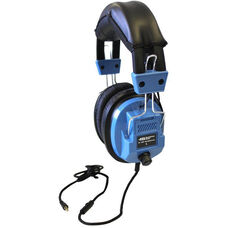 Blue Over-Ear Leatherette Ear Cushion Deluxe Sack-O-Phones Microphone Headsets with Volume Control on Ear and Carry Bag - Set of 5 Headphones