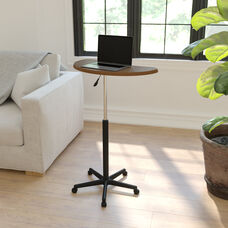 Rustic Walnut Sit to Stand Mobile Laptop Computer Desk