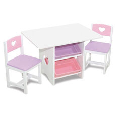 Kids Heart Table and Two Chair Set with Four Plastic Storage Bins - Pastel