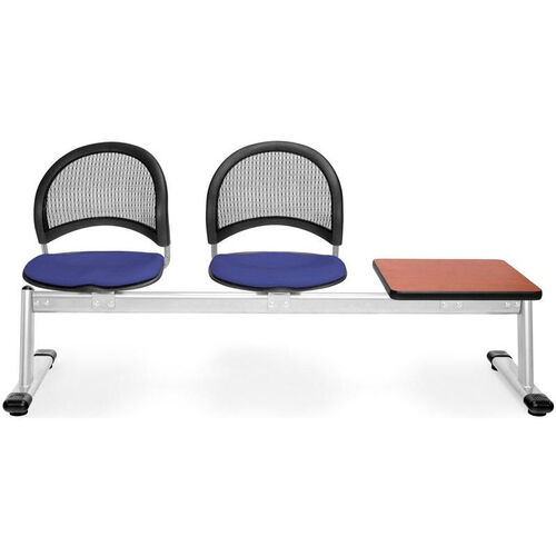 Our Moon 3-Beam Seating with 2 Royal Blue Fabric Seats and 1 Table - Cherry Finish is on sale now.