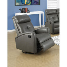 Bonded Leather Swivel Glider Recliner with Button Tuft Back - Charcoal Gray