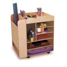 Rolling Art Cart with Side Storage Shelves and Deep Bay Storage on Heavy Duty Casters