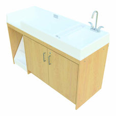 1000 Series 37.5''H Walk Up Toddler Changing Storage Center with Sink on Right - Assembled