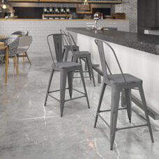 """Commercial Grade 24"""" High Distressed Silver Gray Metal Indoor-Outdoor Counter Height Stool with Back"""