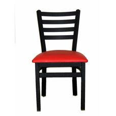 Lima Metal Ladder Back Chair - Red Vinyl Seat