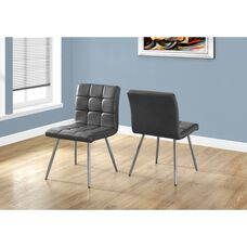Quilted Faux Leather and Chrome Dining Chair - Gray - Set of 2