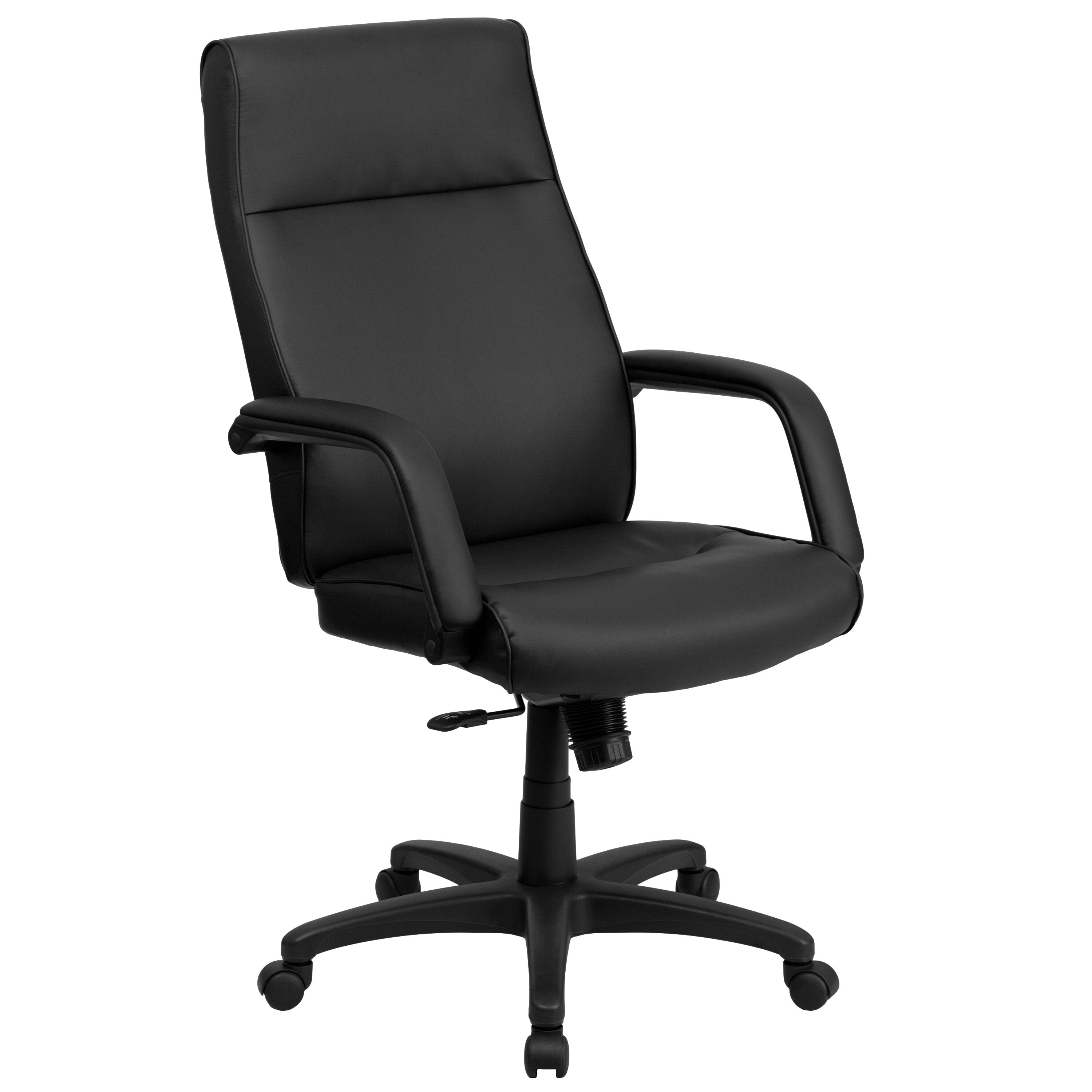 Our High Back Black Leather Executive Swivel Chair With Memory Foam Padding  And Arms Is On