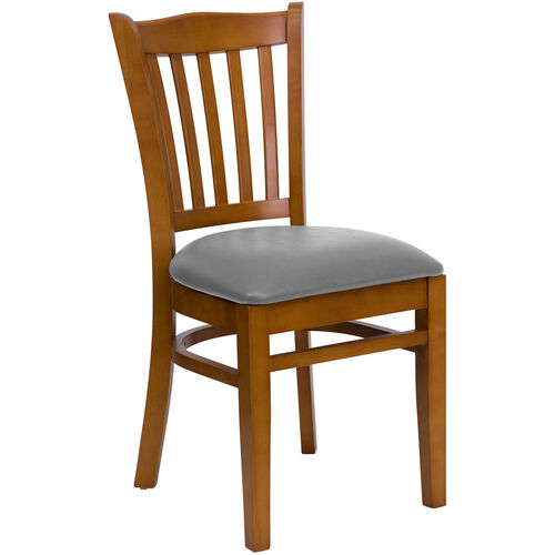 Our Cherry Finished Vertical Slat Back Wooden Restaurant Chair with Custom Upholstered Seat is on sale now.