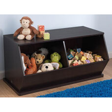 Kids Size Indoor Sturdy Open Double Storage Bins Unit - Espresso
