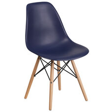 Elon Series Navy Plastic Chair with Wooden Legs
