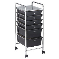 6 Drawer Mobile Organizer with Chrome-Plated Top Shelf and Smoke Colored Pullout Drawers